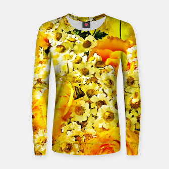 Miniatur flower bouquet roses daisies yellow splatter watercolor Women sweater, Live Heroes
