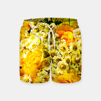 Miniatur flower bouquet roses daisies yellow splatter watercolor Swim Shorts, Live Heroes