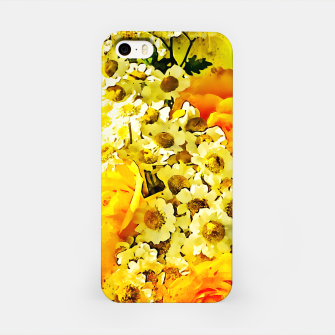 Miniatur flower bouquet roses daisies yellow splatter watercolor iPhone Case, Live Heroes