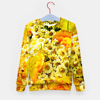 Miniatur flower bouquet roses daisies yellow splatter watercolor Kid's sweater, Live Heroes