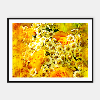 Miniatur flower bouquet roses daisies yellow splatter watercolor Framed poster, Live Heroes