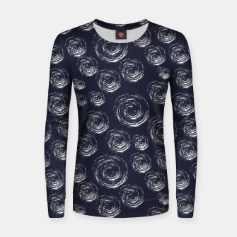 Miniatur Blue Greyish White Circular Strokes on Dark Blue Women sweater, Live Heroes