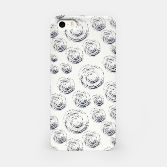 Miniatur Dark Blue Circular Strokes on Blue Greyish White iPhone Case, Live Heroes