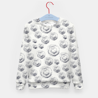 Miniatur Dark Blue Circular Strokes on Blue Greyish White Kid's sweater, Live Heroes