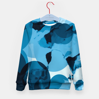 Miniatur circle pattern abstract with blue splash painting background Kid's sweater, Live Heroes