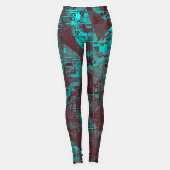 Miniatur geometric triangle and square pattern abstract in blue and brown Leggings, Live Heroes