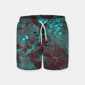 Miniatur geometric triangle and square pattern abstract in blue and brown Swim Shorts, Live Heroes