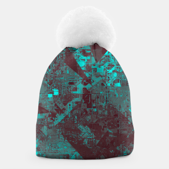 Miniaturka geometric triangle and square pattern abstract in blue and brown Beanie, Live Heroes