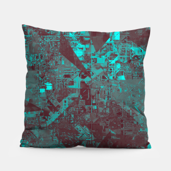 Miniaturka geometric triangle and square pattern abstract in blue and brown Pillow, Live Heroes