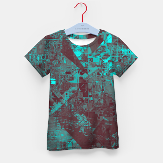 Miniatur geometric triangle and square pattern abstract in blue and brown Kid's t-shirt, Live Heroes