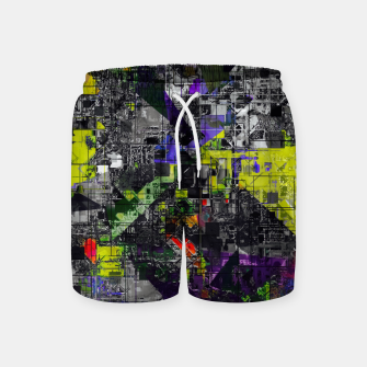 Miniatur geometric triangle and square pattern abstract in yellow red and black Swim Shorts, Live Heroes