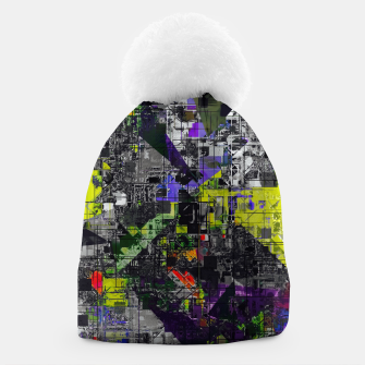 Miniaturka geometric triangle and square pattern abstract in yellow red and black Beanie, Live Heroes