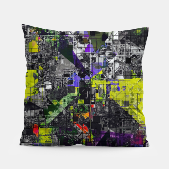 Miniaturka geometric triangle and square pattern abstract in yellow red and black Pillow, Live Heroes