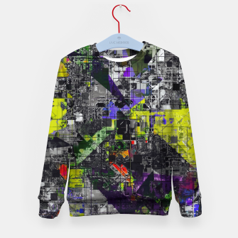Miniatur geometric triangle and square pattern abstract in yellow red and black Kid's sweater, Live Heroes