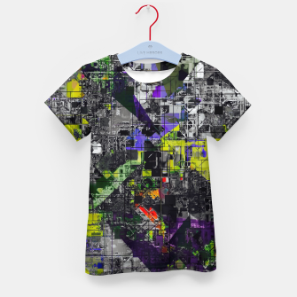 Miniatur geometric triangle and square pattern abstract in yellow red and black Kid's t-shirt, Live Heroes
