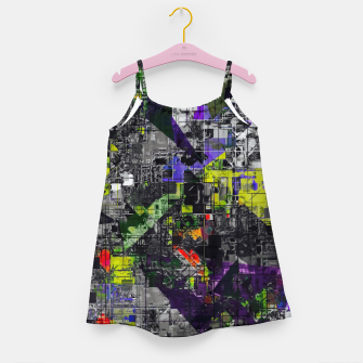 Miniaturka geometric triangle and square pattern abstract in yellow red and black Girl's dress, Live Heroes