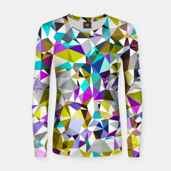 Miniatur geometric triangle polygon pattern abstract background in yellow blue pink Women sweater, Live Heroes