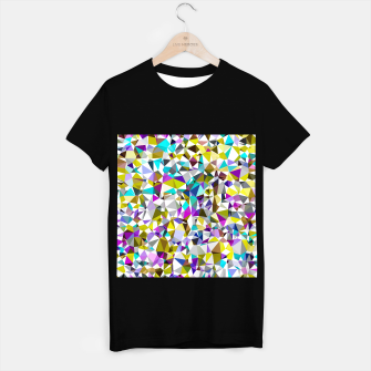 Miniatur geometric triangle polygon pattern abstract background in yellow blue pink T-shirt regular, Live Heroes