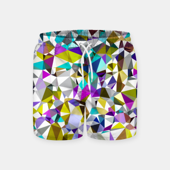 Miniatur geometric triangle polygon pattern abstract background in yellow blue pink Swim Shorts, Live Heroes