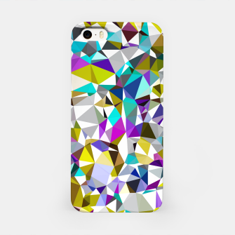 Miniatur geometric triangle polygon pattern abstract background in yellow blue pink iPhone Case, Live Heroes