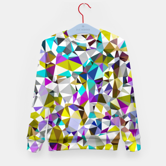 Miniatur geometric triangle polygon pattern abstract background in yellow blue pink Kid's sweater, Live Heroes