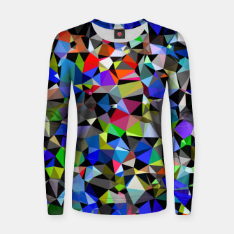 Miniatur geometric triangle polygon pattern abstract background in blue red green Women sweater, Live Heroes
