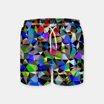 Miniatur geometric triangle polygon pattern abstract background in blue red green Swim Shorts, Live Heroes