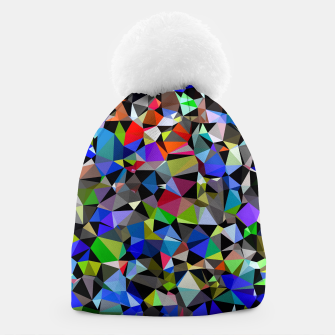 Miniaturka geometric triangle polygon pattern abstract background in blue red green Beanie, Live Heroes