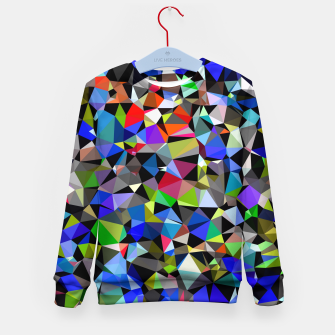 Miniatur geometric triangle polygon pattern abstract background in blue red green Kid's sweater, Live Heroes