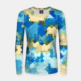 Miniatur geometric square pixel pattern abstract in blue and yellow Women sweater, Live Heroes