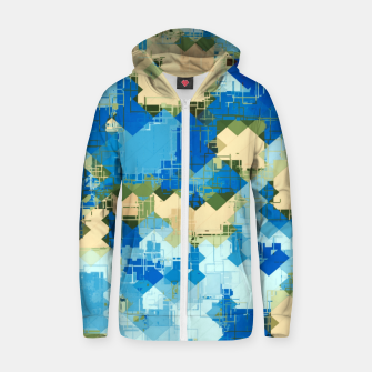 Miniaturka geometric square pixel pattern abstract in blue and yellow Zip up hoodie, Live Heroes