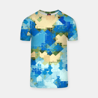 Miniaturka geometric square pixel pattern abstract in blue and yellow T-shirt, Live Heroes