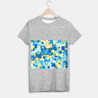 Miniatur geometric square pixel pattern abstract in blue and yellow T-shirt regular, Live Heroes