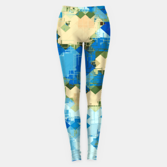Miniatur geometric square pixel pattern abstract in blue and yellow Leggings, Live Heroes