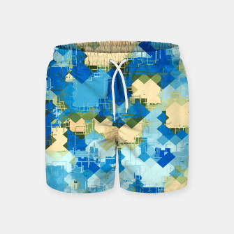 Miniatur geometric square pixel pattern abstract in blue and yellow Swim Shorts, Live Heroes