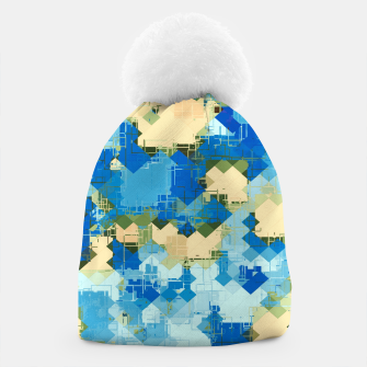 Miniaturka geometric square pixel pattern abstract in blue and yellow Beanie, Live Heroes