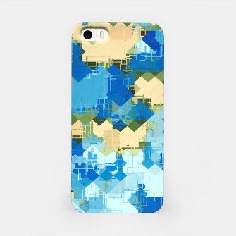Miniatur geometric square pixel pattern abstract in blue and yellow iPhone Case, Live Heroes