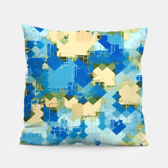 Miniaturka geometric square pixel pattern abstract in blue and yellow Pillow, Live Heroes