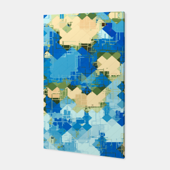 Miniaturka geometric square pixel pattern abstract in blue and yellow Canvas, Live Heroes
