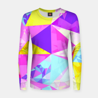 Miniatur geometric triangle polygon pattern abstract in pink purple blue yellow Women sweater, Live Heroes
