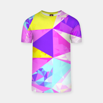 Miniaturka geometric triangle polygon pattern abstract in pink purple blue yellow T-shirt, Live Heroes