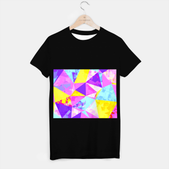 Miniatur geometric triangle polygon pattern abstract in pink purple blue yellow T-shirt regular, Live Heroes