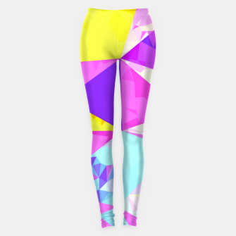Miniatur geometric triangle polygon pattern abstract in pink purple blue yellow Leggings, Live Heroes