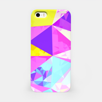 Miniatur geometric triangle polygon pattern abstract in pink purple blue yellow iPhone Case, Live Heroes