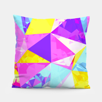 Miniaturka geometric triangle polygon pattern abstract in pink purple blue yellow Pillow, Live Heroes
