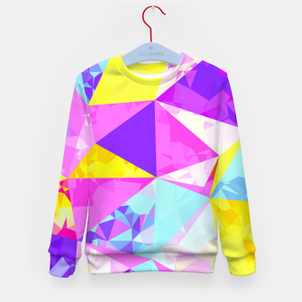 Miniatur geometric triangle polygon pattern abstract in pink purple blue yellow Kid's sweater, Live Heroes