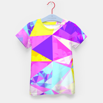 Miniatur geometric triangle polygon pattern abstract in pink purple blue yellow Kid's t-shirt, Live Heroes