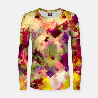Miniatur geometric square pixel pattern abstract in pink yellow purple Women sweater, Live Heroes