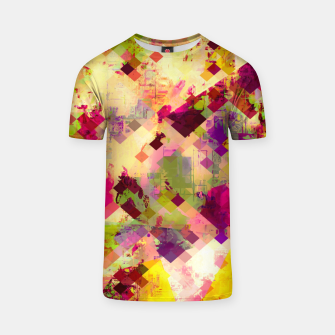 Miniaturka geometric square pixel pattern abstract in pink yellow purple T-shirt, Live Heroes