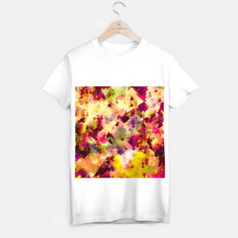 Miniatur geometric square pixel pattern abstract in pink yellow purple T-shirt regular, Live Heroes